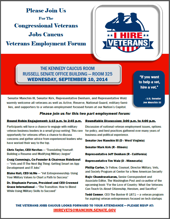 Congressional Veterans Jobs Caucus – Veterans Employment Forum