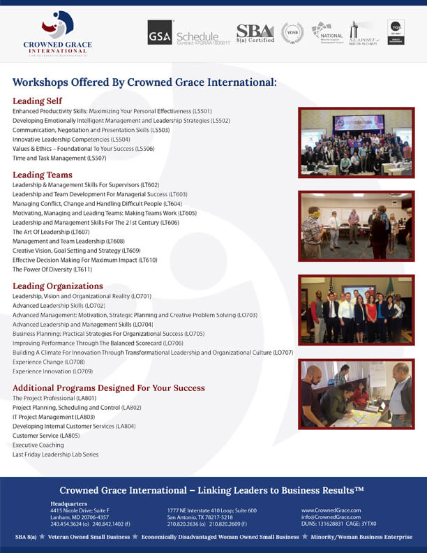 Click here to download a list of our professional development programs